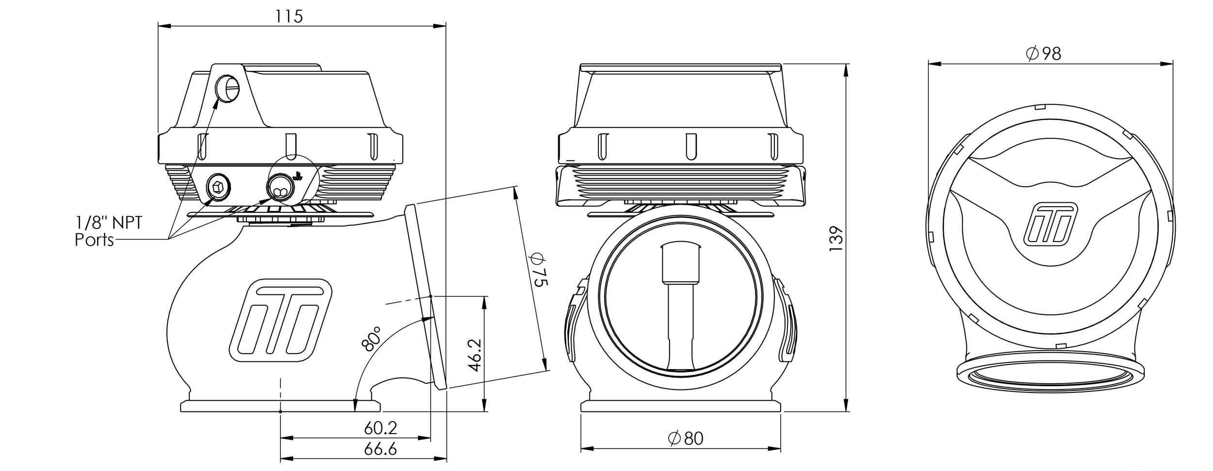 Turbosmart 60mm wastegate ritning